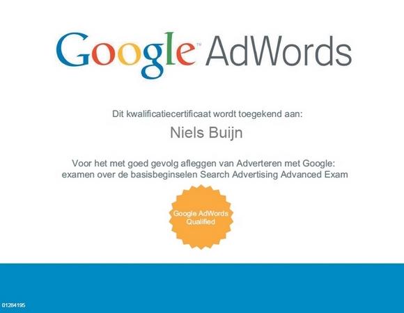 Google AdWords kwalificactiecertificaat Niels Buijn